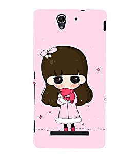 Fuson Premium Back Case Cover Cute Girl With blue Background Degined For Sony Xperia C3 Dual D2502::Sony Xperia C3 D2533