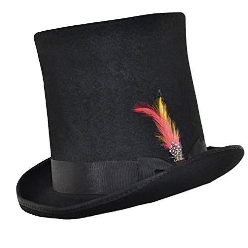 Express Hats Stove Pipe Lincoln Victorian Steam Punk Wool Felt Tall Top Hat (XLarge - 61cm)