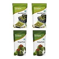 Suvidhi 2 Green Chilli Thecha 100gm & 2 Mango Pickle 200gm (Combo of 6)