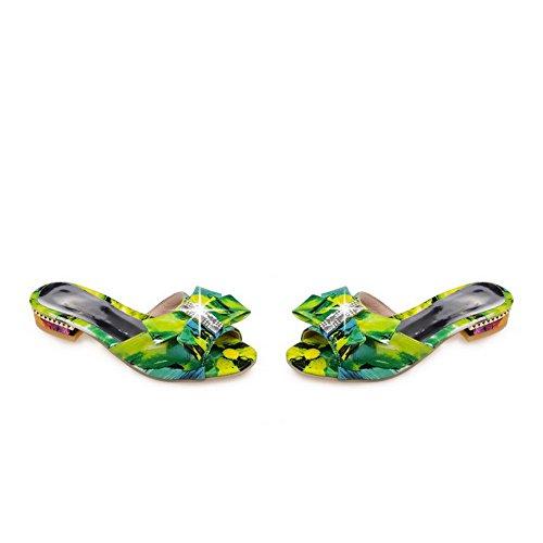 AllhqFashion Damen Ziehen Auf Niedriger Absatz Pu Leder Gemischte Farbe Offener Zehe Sandalen Grün