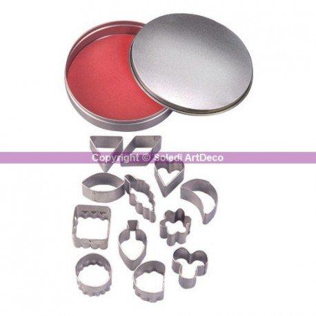 Emporte-pièces en inox, 12 Formes géométriques, florale, coeur, feuille, de 2,2 à 3,2 cm