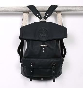 Noir Grand sac à dos en toile Rolltop Par Stighlorgan