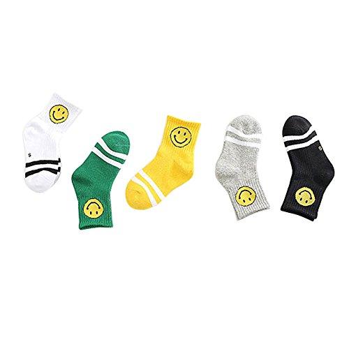 TININNA 5 Paare Unisex Anti Slip Socken Weiche Rohr Socken Gestreiften Lächeln Hohe Socken Baumwolle crew Sock für 2-4 Jahre alt Baby Mädchen Jungen EINWEG Verpackung (Rohr Socken Gestreiften)