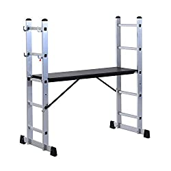 HOMCOM Aluminium Scaffolding Ladder Multi Combination Multi-purpose Step Scaffold Platform