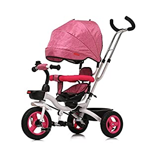 LIFEKONGA Tricycle Foldable Lightweight Pram Pushchair Baby Stroller - Makes It Easy for You To Travel 1-3 Year Old Baby,Pink   1