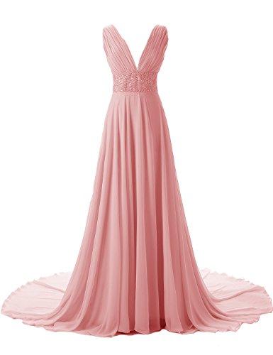 Dresstells, Robe de soirée de mariage Robe de cérémonie emperlée traîne mi-longue col en V Lilas