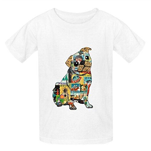 Carlino Collage Bambini Girocollo T-Shirt personalizzata White XS/110 cm