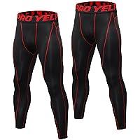Niksa 2 Piezas Pantalones de Compresión Mallas Hombre Secado Rápido Leggings para Running, Yoga,Fitness (Black Red(1060)*2,S)