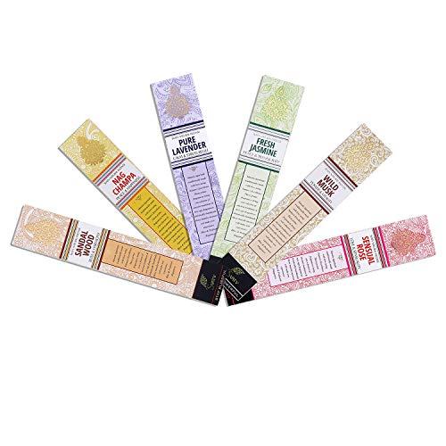 SVATV :: Handgerollter Masala Räucherstäbchen 15 g Packung 6 Duft (Nagchampa, Sandelholz, Lavendel, Rose, Moschus, Jasmin) Hergestellt in Indien