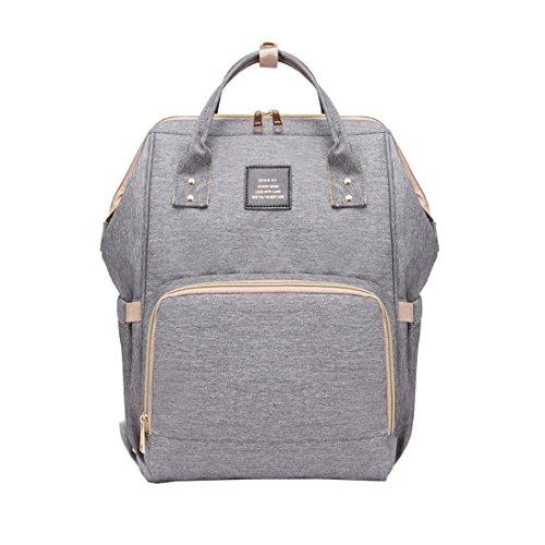 Quanjie zaino per pannolini multifunzionali borsa fasciatoio stoffa oxford grande capacità borsa da viaggio impermeabile mamma bambino sacchetto di pannolino durevole borse per cambio (grigio)