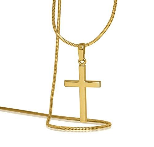 MyGold Kreuz Anhänger (Ohne Kette) Gelbgold Weißgold 375 / 585 / 750 Gold (9 Karat / 14 Karat / 18 Karat) 25mm x 12mm Glanz Kettenanhänger Goldanhänger Goldkreuz Geschenk Landour MOD-02220