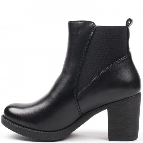 Ideal Shoes - Bottines en similicuir avec bande élastique Poema Noir