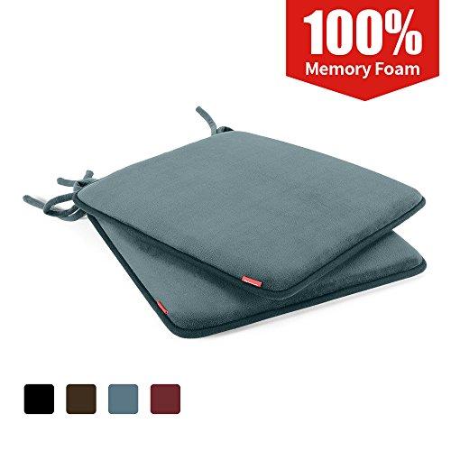 Baibu Memory-Schaum Sitzkissen-Sitzkissen mit dem Verband-Sitzauflage mit rutschfester Unterseite für Essensstuhl, Bürostuhl, 41x41x3CM, Grau, 2PC (Unterseite Rutschfeste)