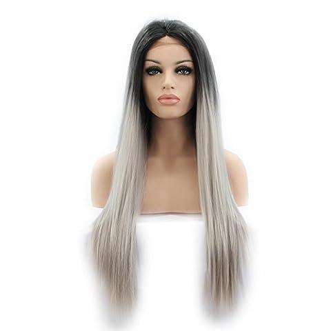 SHKY 2 Töne Straight Long Swiss Lace Front Perücke schwarz ombre grau Klebstoff Hitze resistente Faser synthetische Haare Perücke für Frauen , 26