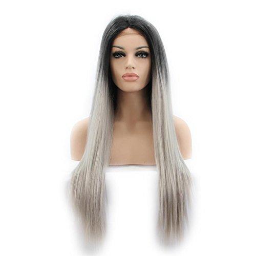 SHKY 2 Töne Straight Long Swiss Lace Front Perücke schwarz ombre grau Klebstoff Hitze resistente Faser synthetische Haare Perücke für Frauen , 26 (Kostüme Twotone Perücke Blau)
