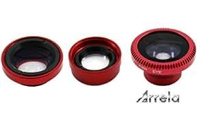 Arrela® 3 in 1 180 Degeers Fisheye, Wide Angle, Micro Macro Lens photo Kit for Mobile Phone Notebook PC iPad Red