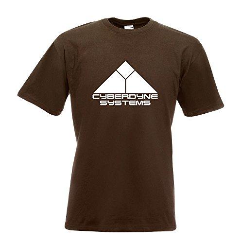 KIWISTAR - Cyberdyne Systems Terminator T-Shirt in 15 verschiedenen Farben - Herren Funshirt bedruckt Design Sprüche Spruch Motive Oberteil Baumwolle Print Größe S M L XL XXL Chocolate