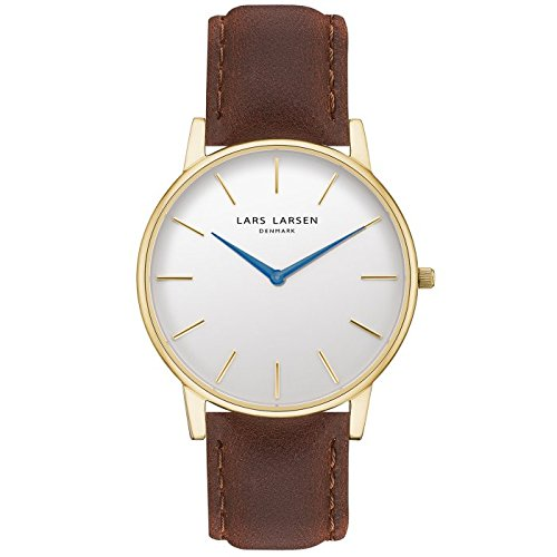 'Lars Larsen Oliver Oro con Quadrante Bianco 39 mm Watch