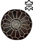Orientalischer runder Pouf aus Leder ø 50cm Rund 30cm Hoch inklusive Füllung | Marokkanisches Sitzkissen Sitzpouf Kissen Iskandar Dunkelbraun | Marokkanischer Hocker Sitzhocker Fusshocker