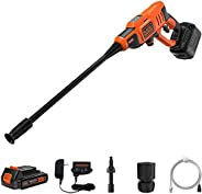 BLACK+DECKER 5-in-1 Cordless Electric Pressure Washer, POWERCONNECT Series, 18 V, 24 Bar, 2 Ah Li-Ion Battery,