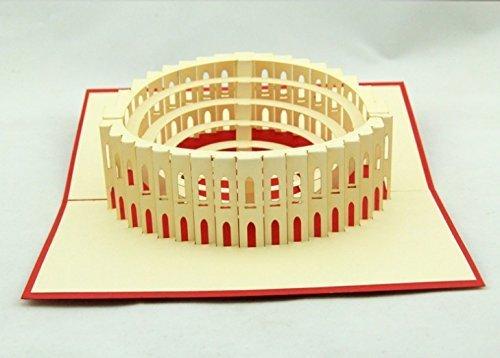 dgemachte 3D Pop-up-Karte Italien Rom Colosseum Geburtstag Valentines Vatertag Muttertag Ostern Halloween Thanksgiving Weihnachten Xmas Hochzeit Party Meeting Einladungskarte Geschenk für ihn ihr Familienfreund ()