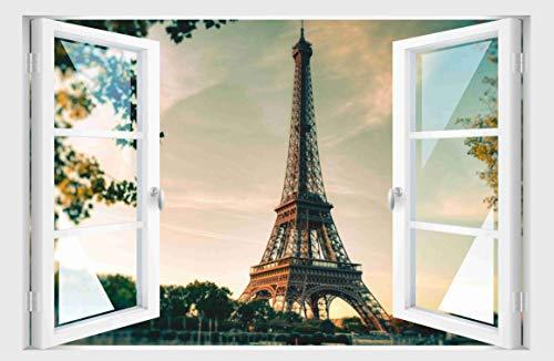 Skins4u Fenster 3D Optik Wandtattoo Wandbild Aufkleber 80x55cm Paris Eiffelturm (Paris-fenster-aufkleber)