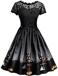Meijunter Disfraces de Halloween para Mujer - Plus Size A Line Vestido Estilo Vintage Manga Corta Malla Patchwork Calabaza Impreso Fiesta Vestido de oscilación
