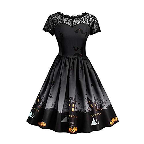 Meijunter Halloween Kostüme für Damen - Plus Größe A Line Kleid Vintage Stil Kurzarm Mesh Patchwork Kürbis Gedruckt Party Swing Kleid -