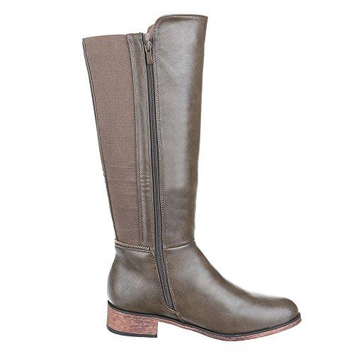 Chaussures, b2876–hB, doublée bOOTS bottes Marron - Braun Grau