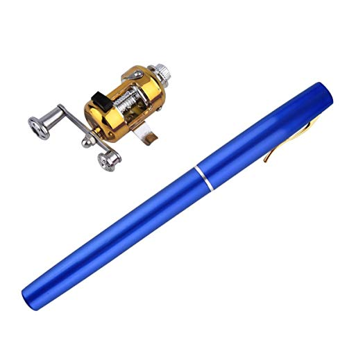 DoMoment Einzigartiges Design Angelrute Tragbare Mini Angelrute Aluminiumlegierung Stiftform Angelrute Mit Reel Wheel 6 Farben