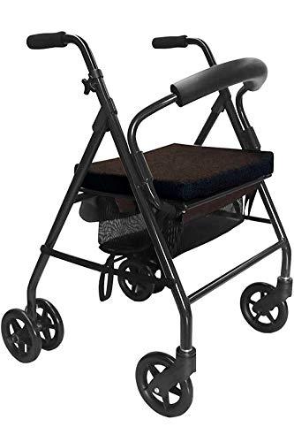 KMINA - Andadores ancianos plegable, Andadores adultos con asiento, Andadores ancianos 4 ruedas, Andadores ancianos frenos por presion, COMFORT Negro Freno Presión