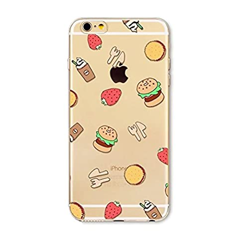 Coque Couverture Etui iPhone 6 6S 4.7 TPU Silicone Housse Silicone Transparent Case Cover Ultra Mince Souple motifs Bumper Cas absorbant les chocs Anti-rayures JINCHANGWU --Knife and fork hamburgers Coke