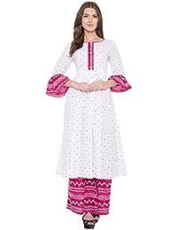 Metro Fashion Women's White And Pink Printed Kurta And Palazzo Set