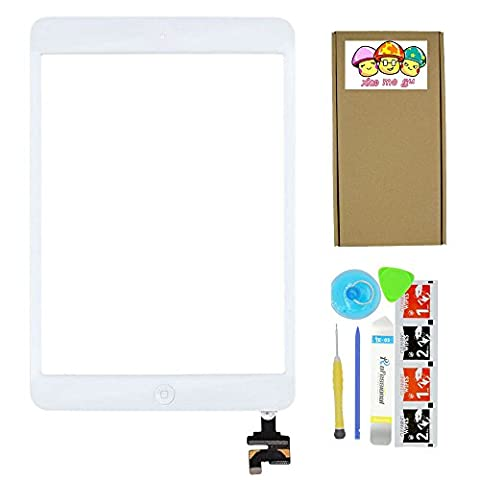 XIAO MO GU White Replacement Screen Touch Screen Digitizer For iPad Mini 1 & 2 With IC Chip Home Button and Flex Cable Assembly+Tool kit