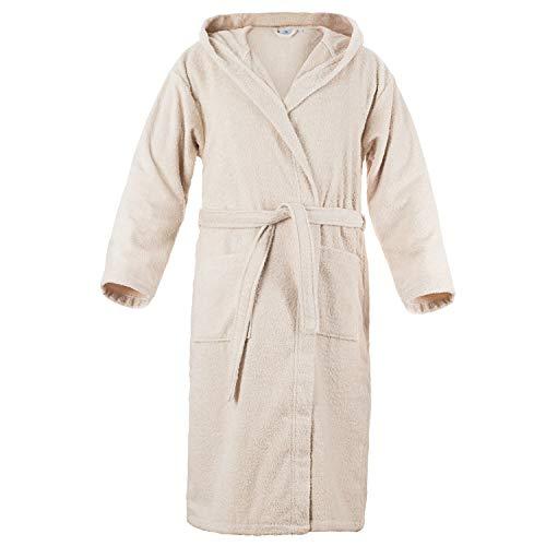 Peignoir de Bain 100% Coton avec Capuche pour Homme - Taille XS S M L XL - Certifié Oeko TEX - Robe de Chambre 2 Poches, Ceinture et Boucle d'Accroche - Doux, Absorbant et Confo