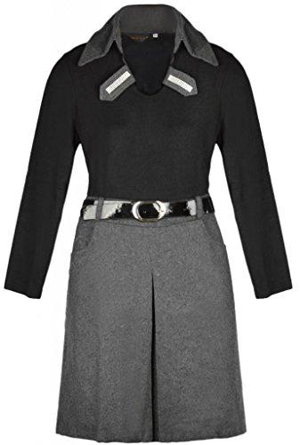 Eyekepper Frauen Umlegekragen Langarm Kontrast Farbe Falten kleid Grau