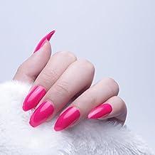 24pcs 12diferentes tamaño Navidad sólido rojo Color Simple Stiletto Media funda de Full diseño de puntas de uñas postizas con