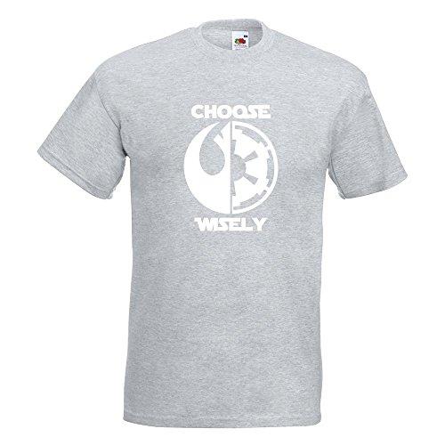 KIWISTAR - choose wisely T-Shirt in 15 verschiedenen Farben - Herren Funshirt bedruckt Design Sprüche Spruch Motive Oberteil Baumwolle Print Größe S M L XL XXL Graumeliert