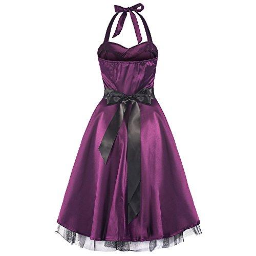 Pretty Kitty lila Satin-Swing-Kleid -