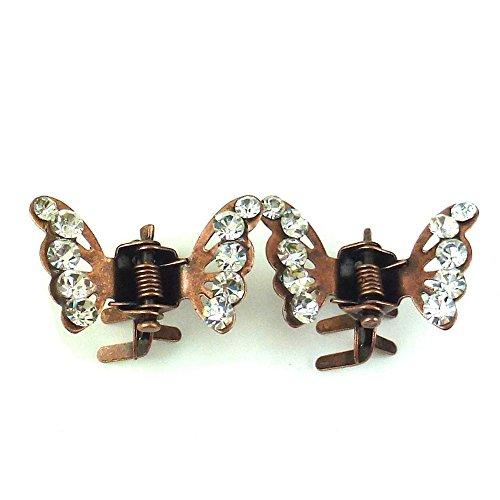 rougecaramel - Accessoires cheveux - Mini pince crabe papillon en strass 2pcs - cuivre
