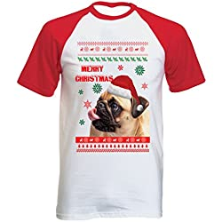 Teesquare1st MERRY CHRISTMAS PUG Tshirt con manga corta roja T-shirt Size Large