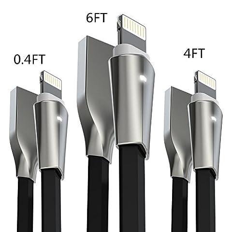 Câble iPhone, Aimus Lot de 3 0.15M + 1.2M + 1.8M Zinc allié Lightning vers câble de chargement USB pour iPhone 7/7 Plus, iPhone 6/6s/6 Plus/6s Plus, iPhone 5/5S/5 C/SE, iPad Mini 2 3 4 Air iPod Ios10 et plus (Noir)