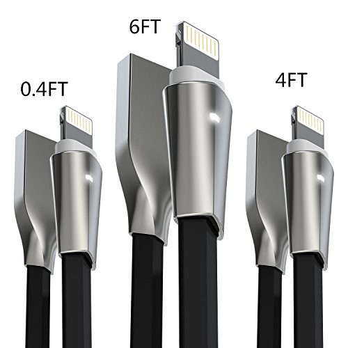 Lightning Kabel, iPhone Kabel, Aimus 3 Stück 0.15M+1.2M+1.8M Zink legiertem Lightning auf USB Ladekabel Ladegerät Kabel für iPhone X 8/ 8p/ 7/7 Plus, iPhone 6/6S/6 PLUS/6S Plus, iPhone 5/5S/5 C/SE, iPad Mini 2 3 4 Air iPod ios10 und mehr (schwarz)