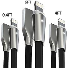 Cable Lightning iPhone, Aimus Cable Cargador iPhone Lightning a USB Cable Lead de TPE con Indicador LED para iPhone X / 8 / 8 Plus / 7 / 7 Plus / 6S / 6S Plus / 6 / 6 Plus / SE / 5S / 5C / 5, iPad Mini 2 3 4 Air IOS11-[3PCS:0.15M+1.2M+1.8M-Negro]