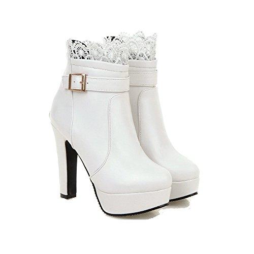 AgooLar Damen Reißverschluss Hoher Absatz Rein Niedrig-Spitze Stiefel mit Lesbie Weiß