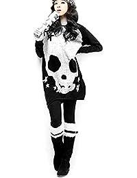 Webcajk Manches longues Crâne Imprimé stretch Pull T-shirt des femmes