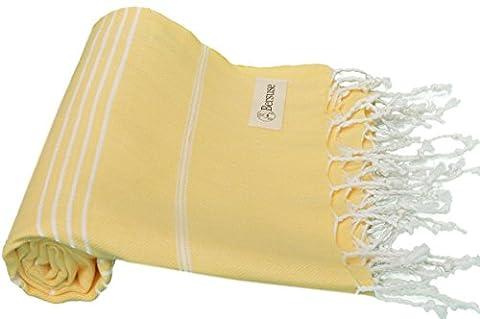 Bersuse 100% coton - Anatolia Serviette turque - Drap de bain, serviette de plage en Fouta Peshtemal - Pestemal rayé de manière classique - 95 X 175 cm, Jaune