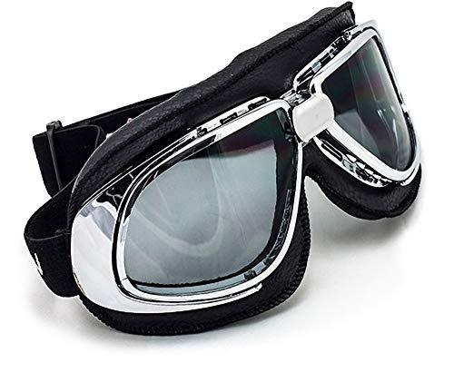 SOXON SG-301 Night Vintage Vespa Scooter Flieger-Brille Schutz-Brille Goggles Biker Jet-Brille Oldtimer Sport-Brille Cruiser Motorrad-Brille Pilot Ski-Brille, Leder Design, Schwarz/Silber, Einheitsgröße
