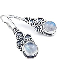 Pendant 925 sterling silver with rainbow moonstone 11 mm x 36 mm (MAH 73)
