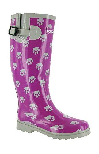 Cotswold Damen Hundepfote Gummistiefel - EU / UK Lila & Silber